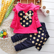 2017 New Baby Kids Girls Clothing Set MINNIE Cartoon Mouse Long Sleeve Dot Bowtie Tops T-Shirt+Pants 2pcs Outfits 2-5Y