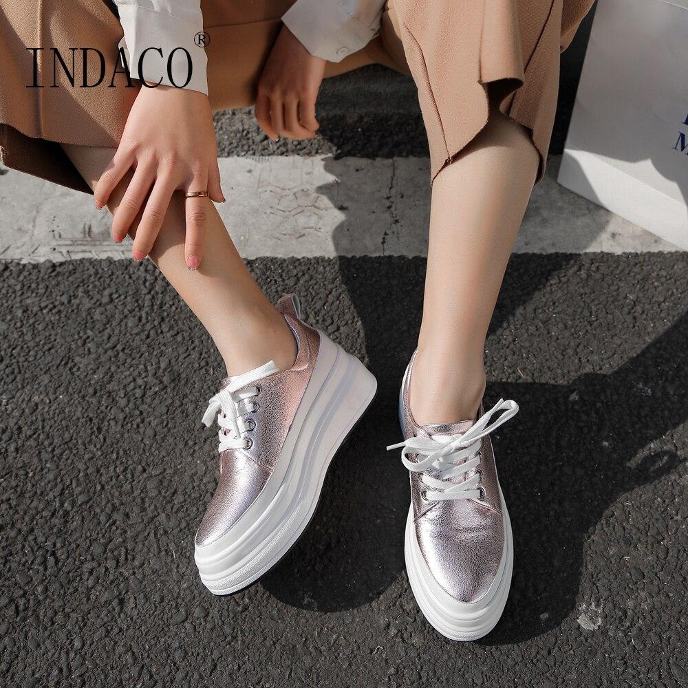 Shoes Woman Leather Sneakers Women Platform Shoes Blue Pink Fashion Sneakers 2019 4 5cm