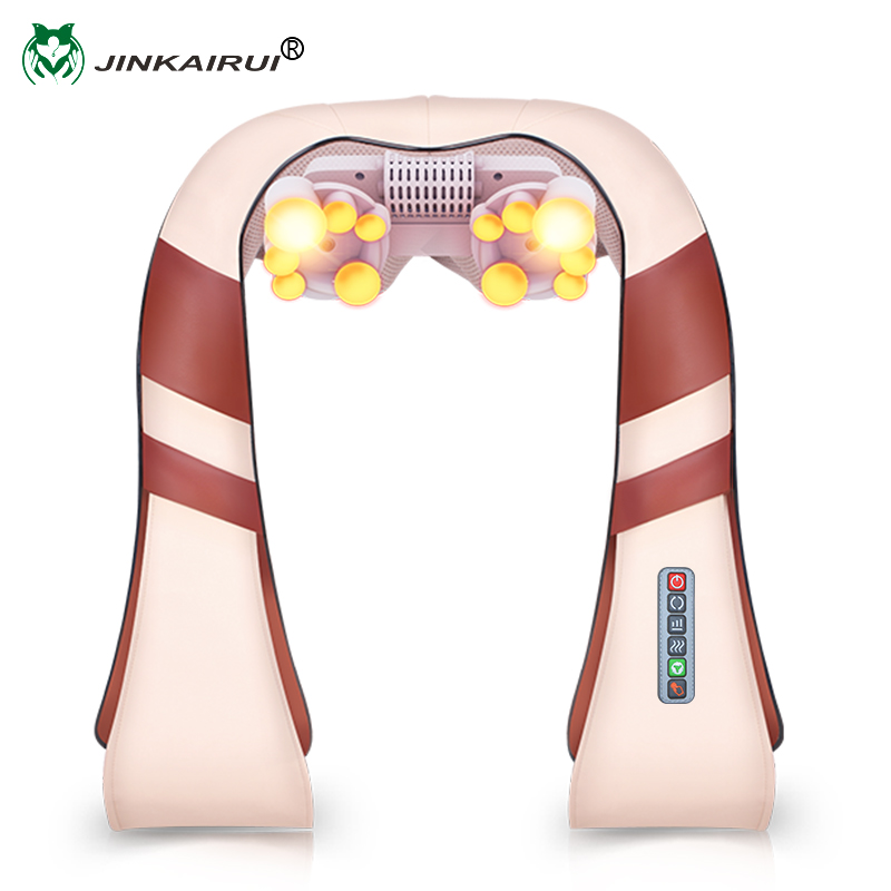 JinKaiRui U Shape Electrical Shiatsu Back Neck Shoulder Massager Body Spa Infrared 4D kneading Massagem Car/ Home Use 2016 new arrival kneading massager with heat great at home spa machine for neck back shoulder