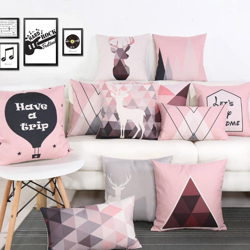 Modern Minimalist Geometric Cushion Pink Triangle Animal Deer Antler Letter Throw Pillows Headrest For Nordic Style Home Decor