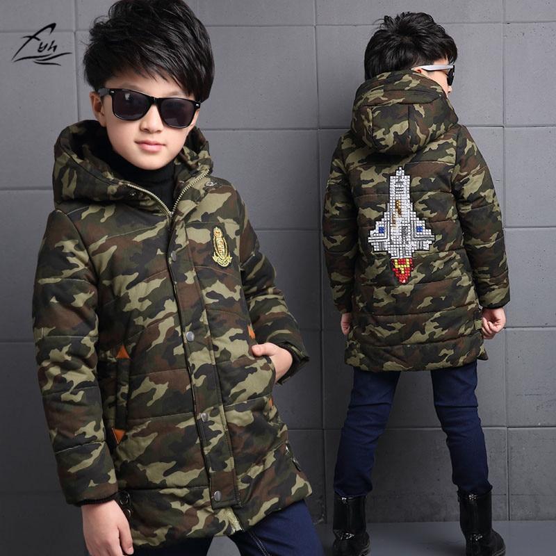 FYH Kids Outerwear Winter Boys Camouflage Hooded Parka School Children's Winter Jackets Kids Boys Down Coat Warm Thick Cotton