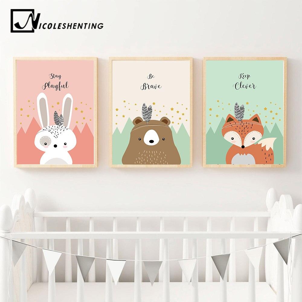 NICOLESHENTING Tribe Woodland Animal Art Canvas Poster Rabbit Fox Nursery Print Painting Cartoon Picture Baby Kid Bedroom Decor