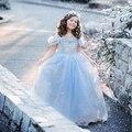 / estilo americano europeo 2015 del verano del bebé vestido de cenicienta para el partido marca de ropa para niños princesa vestidos blancanieves disfraz túnica