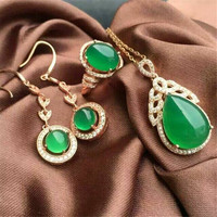 KJJEAXCMY boutique jewels 925 Pure silver inlay natural green jade medulla ring + pendant 3 pieces set with diamond oval plant s