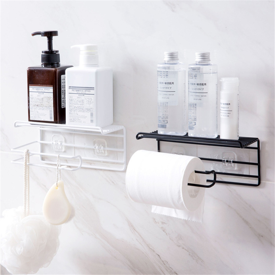 Bathroom Towels Storage Rack Makeup Cosmetic Storage Shelf Iron Toilet Roll Paper Holder Kitchen Tools Organizer3