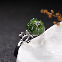 silver S925 silver and Tian Biyu flower ring inlaid lady luxury all match opening ring wholesale