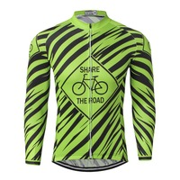 WEIMOSTAR Pro Team Long Sleeve Cycling Jersey Riding MTB Ropa Ciclismo Mens Bike Bicycle Jersey Cycling Shirts Green Size S XXXL