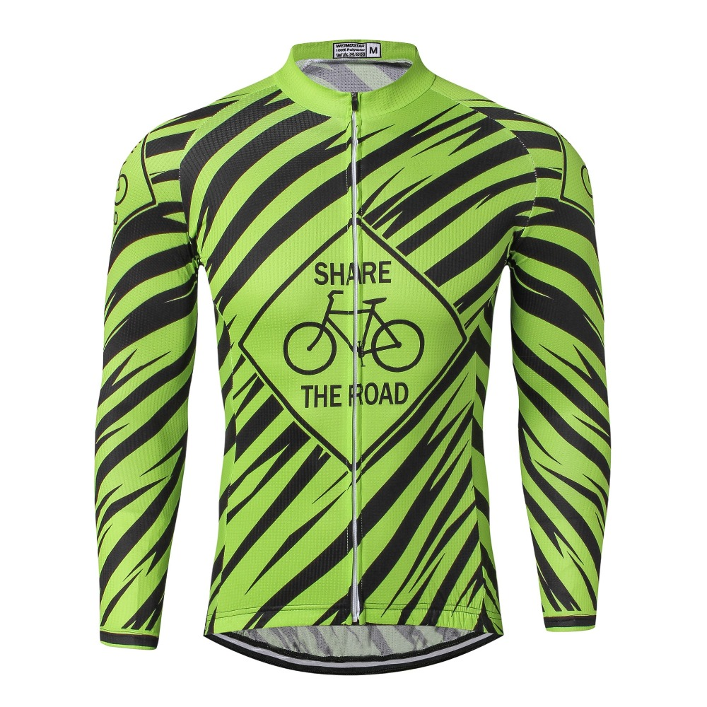 WEIMOSTAR Pro Team Long Sleeve Cycling Jersey Riding MTB Ropa Ciclismo Mens Bike Bicycle Jersey Cycling Shirts Green Size S-XXXL