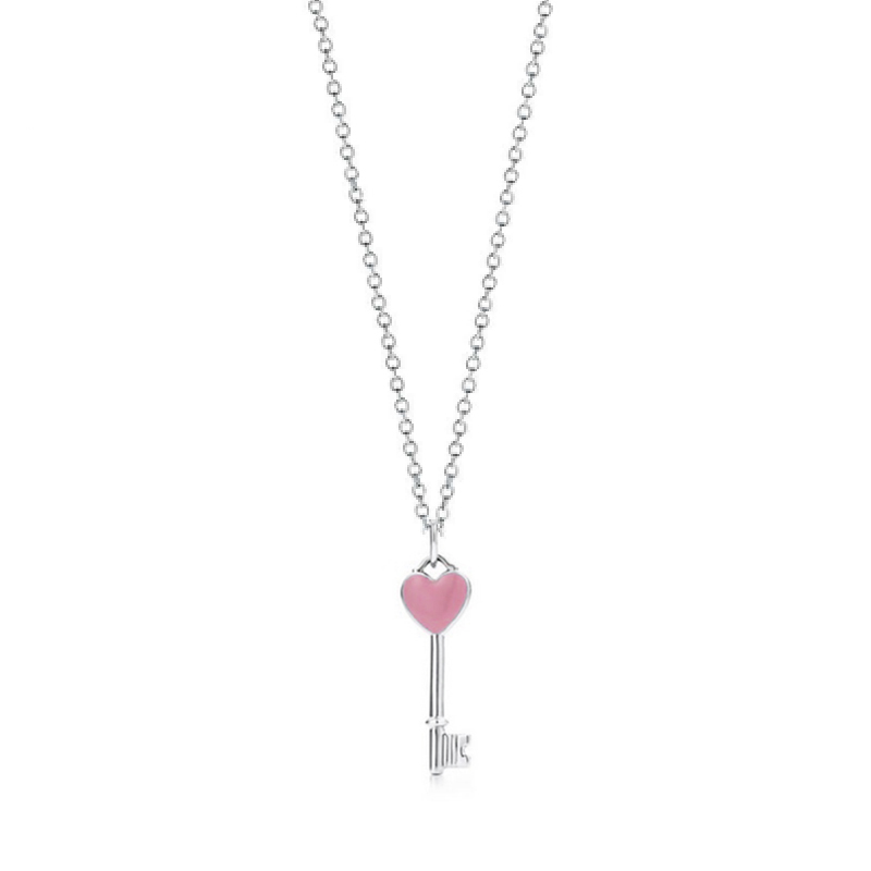 CHAMSS 925 Sterling Silver Pink Heart Lock Flower 45CM Pendants & Necklaces Women Sterling-Silver-Jewelry Free Package Mail