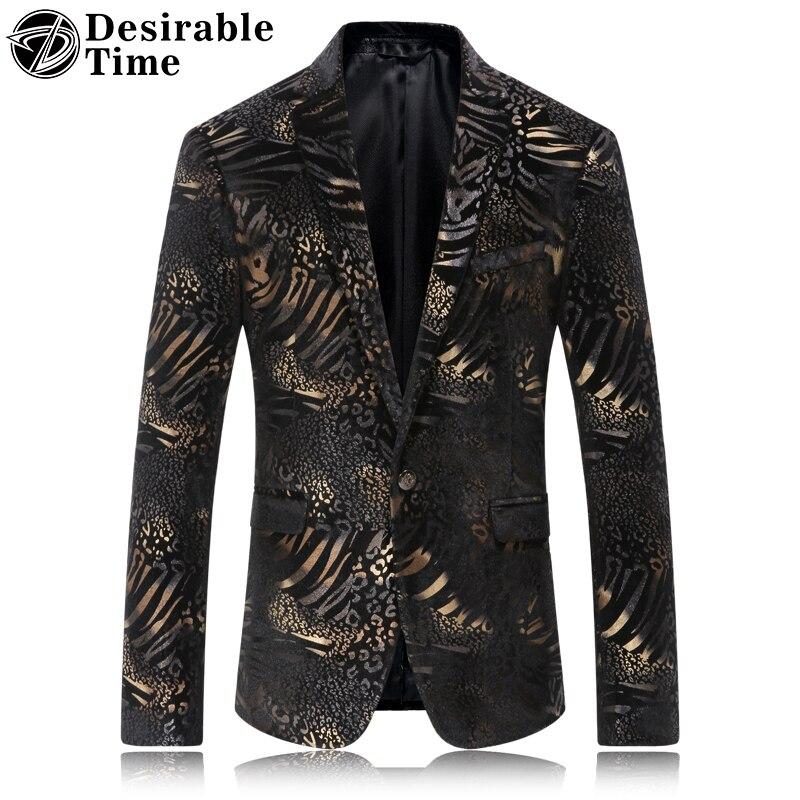 Mens Slim Fit Leopard Print Blazer font b Jacket b font 2017 New Arrivals Fashion Casual