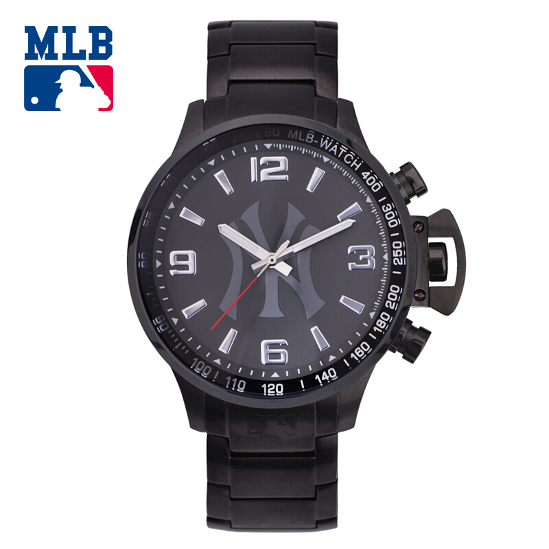 MLB NY black satinless steel watch fashion personality watches sport outdoor quartz men'watch waterproof watch hot clock SD005 mlb ny fashion simple cool watch big dial rubber waterproof lover watches men women quartz sport student wrist watch clock