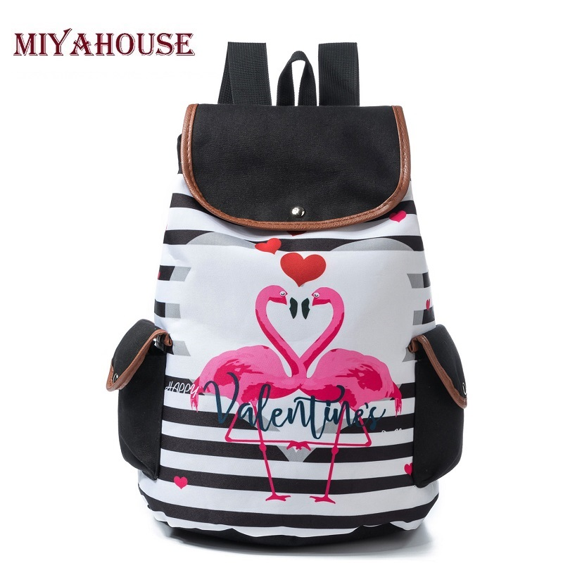 Miyahouse Casual Striped And Flamingo Printed Backpack Women Large Capacity  Travel Rucksack For Female Canvas School Bag LadyMiyahouse Casual Striped And Flamingo Printed Backpack Women Large Capacity  Travel Rucksack For Female Canvas School Bag Lady