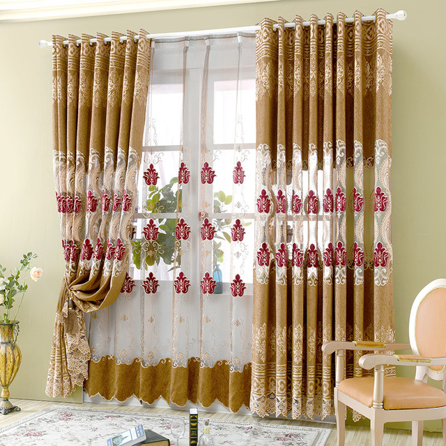 Blue Yellow Chenille Jacquard Curtain Embroidery Yarn Study French Window Europe Embroidered Modern Curtains For Living