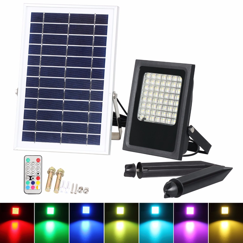 T SUNRISE Solar Flood lights Color Changing Decorative RGB Lamp Outdoor Waterproof IP65 Street Garden Security Light Remote 50W