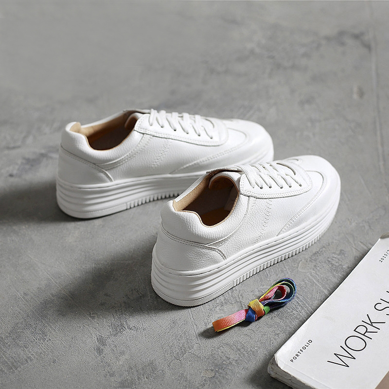 Genuine Leather Women Sneakers Fashion white Shoes for Women Lace up White Shoes female Platform Shoes women Flat Shoes beffery 2018 british style patent leather flat shoes fashion thick bottom platform shoes for women lace up casual shoes a18a309