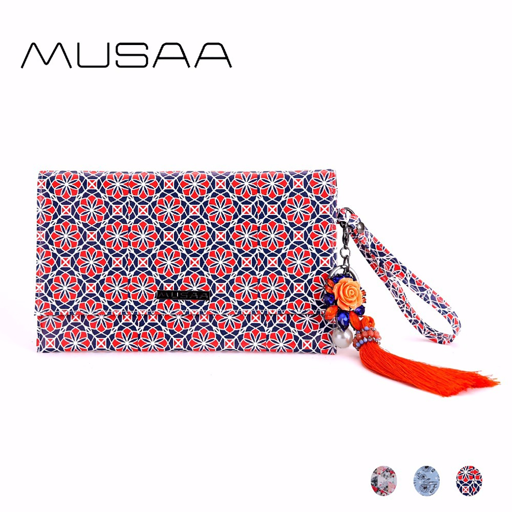 MUSAA Geometry Envelope Printing Clutch Bags Women PU Leather Tassel Flowers Decoration Buckle Stylish Small Wristbands Bag