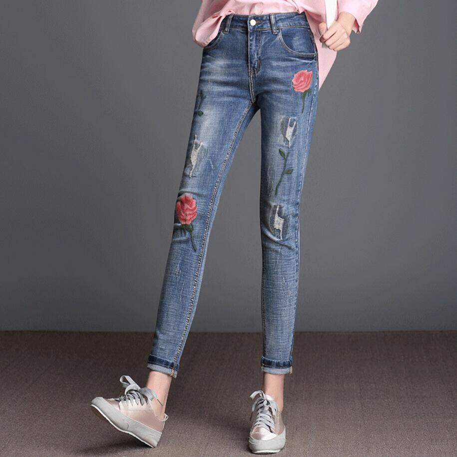 Ripped jeans For Women High Waist Slim Plus Size Skinny jeans Woman With Embroidery Stretch Pencil Denim Pants 2017 Ankle Length rosicil new women jeans low waist stretch ankle length slim pencil pants fashion female jeans plus size jeans femme 2017 tsl049