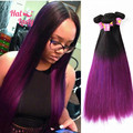 7A Halo Lady Purple Human Hair Straight 100g/pc 4pcs/Lot 100% Peruvian Human Hair T1B/27 Brown Blue Red Purple Color Hair Weaves