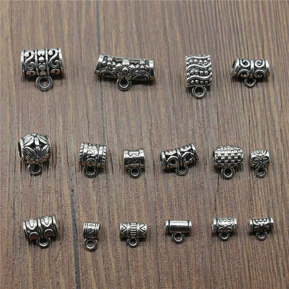 20pcs/lot Charms Connector Bails Beads Antique Silver Color Bails Beads Charms Jewelry Findings Diy Bails Beads Connector