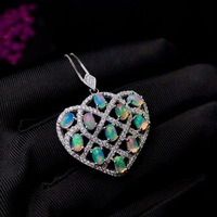 charming colorful opal gemstone pendant for necklace\ silver fine jewelry 925 sterling silver natural gem fireworks color gift