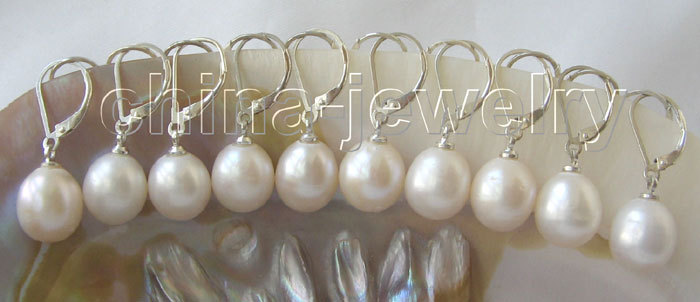 Wholesale 10 pairs 11 mm white pearl earrings-925silver