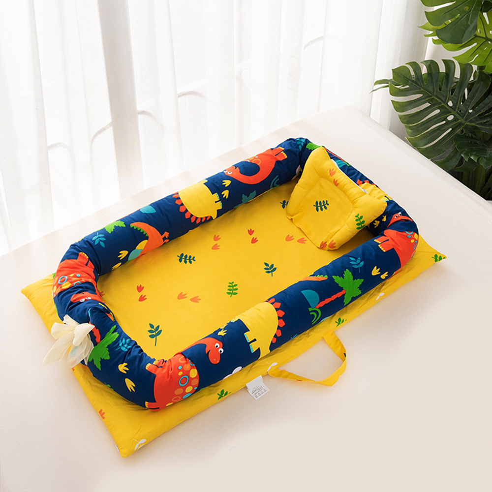 Soft Cotton Baby Bed Portable Baby Nest Cartoon Printed Babynest Cradle Co-sleeping Bedding Crib Kids Babynest Infant Travel Bed