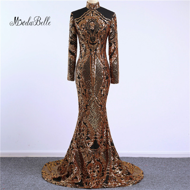 Modabelle Long Sleeve Mermaid Evening Dresses Ladies Sequin Evening Dress  Black Gold 2018 Arabic Evening Gowns fa39a5e010f4