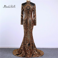 Modabelle Long Sleeve Mermaid Evening Dresses Ladies Sequin Evening Dress Black Gold 2018 Arabic Evening Gowns