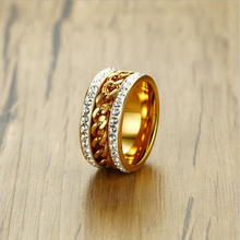 AGOOD Spinner Chain Ring for Men Women Crystal Inlay Gold Rings Tone Stainless Steel Wedding Bands Male Female Fashion Jewelry tailor made luxury western rose gold color inlay health surgical stainless steel wedding bands rings sets