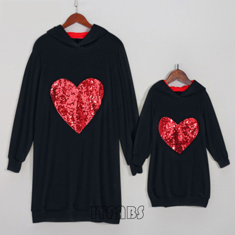 Mother And Daughter Matching Hoodie Heart Sequin Long Sleeve Hooded Sweatshirt Family Match Clothes