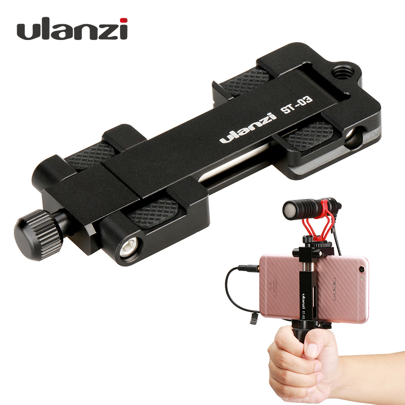 Ulanzi Metal Phone Tripod Mount With Cold Shoe Universal Clip Holder For SmartPhone Microphone Light For Iphone7 Samsung ST-03Ulanzi Metal Phone Tripod Mount With Cold Shoe Universal Clip Holder For SmartPhone Microphone Light For Iphone7 Samsung ST-03