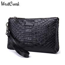 WESTCREEK Brand Women Clutch Bags Vintage Split Leather Crocodile Pattern Envelope Ladies Small Messenger Handbags for Female