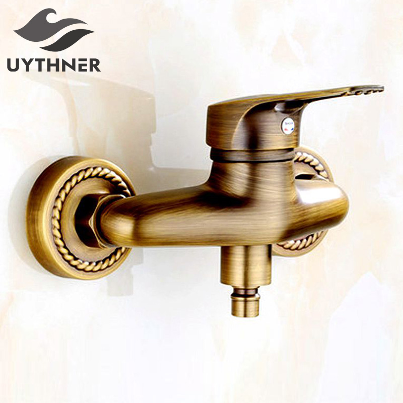 Uythner Newly Retro Style Bathroom Basin Faucet Antique Brass Mixer Tap One Handle Double Hole newly euro style bathroom basin faucet single hole antique brass luxury sink mixer faucet water tap