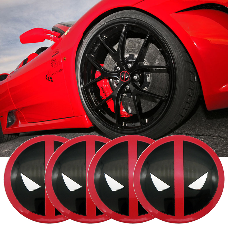 4x 56.5mm Deadpool Logo Car Tyre Wheel Center Hub Cap Emblem Decal Badge Symbol Sticker Creative Patterns Cap Sticker