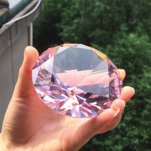 80mm color Clear Crystal diamond Shape Paperweight glass gem display Ornament Wedding Home Decoration Art Craft Material Gift