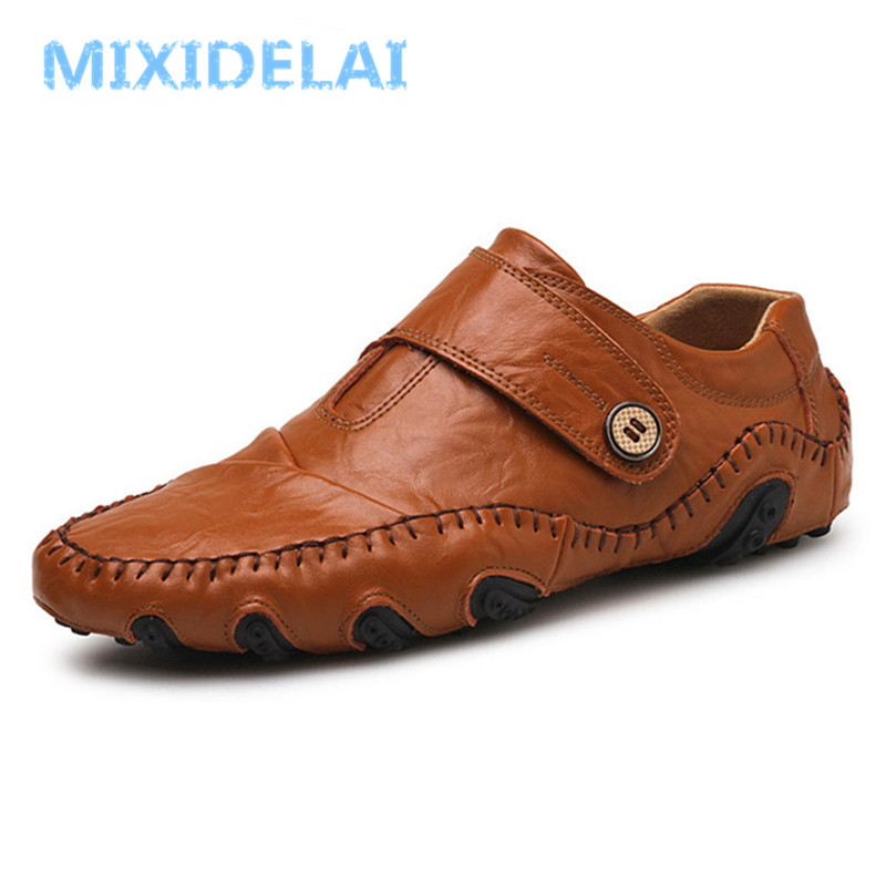 MIXIDELAI Fashion British Style Men Causal Shoes Genuine Leather Slip On Men Shoes High Quality Outdoor Shoes Zapatos Hombre