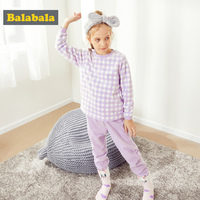 Balabala Girls 2 Piece Checked Snug Fit Cotton&Fleece Pjs Long Sleeve Shirt + Solid Pull on Pants Set Teenage Girl Pajamas Set