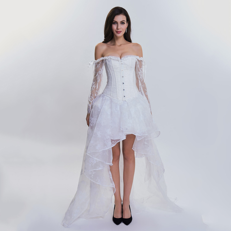 Bridal Corsets And Bustiers White Lace Sleeve Gothic Corset Dress Wedding Sexy Burlesque Outfit Victorian Steampunk Clothing