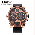 Oulm 9316B Military Watches with Double Movt Round Dial And Leather Band Multi Time Zone Sport Watch Fashion Men's Analog Watch