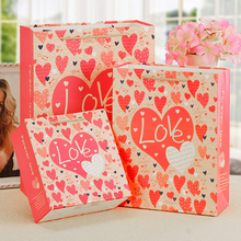 10pcs/lot Multi Pink Love Cross Paper Gifts Bag Portable Reusable Environmental Protection Festival With Handles