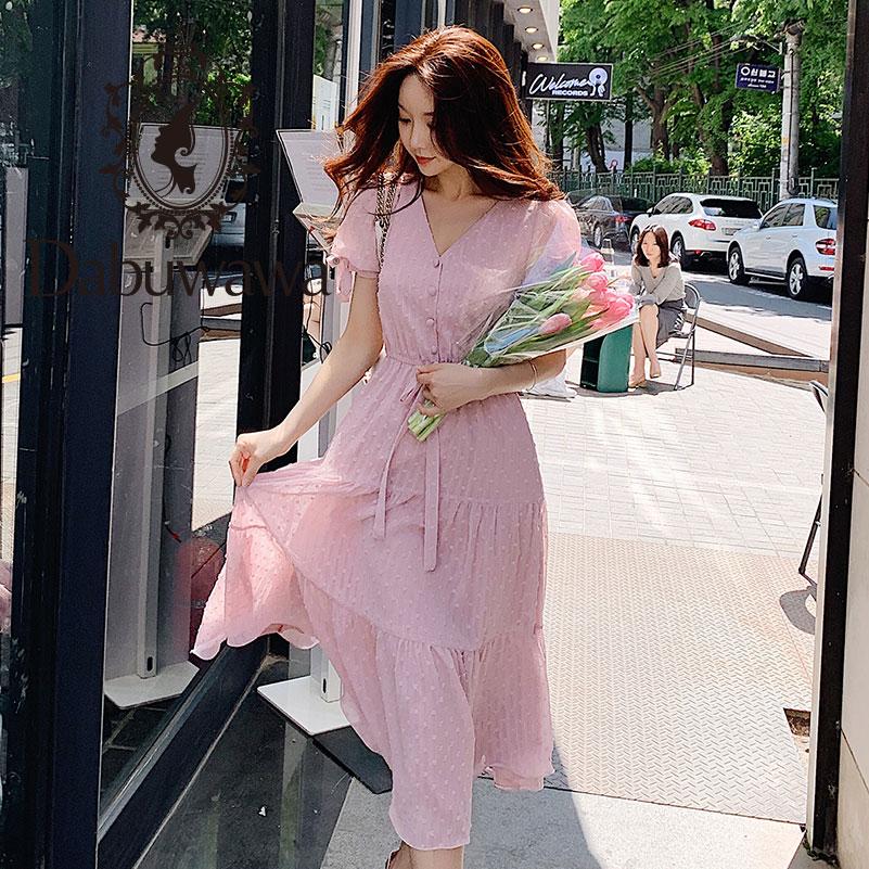 Dabuwawa 2019 New Summer Women s Romantic Chiffon Lantern Short Sleeve Sexy V neck Elegant Pink