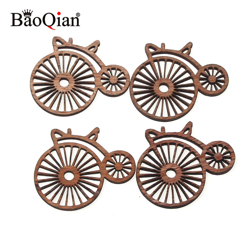 10Pcs Vintage Bicycle Natural Wooden Pattern Scrapbooking Craft For Handmade Accessory Home Decorate DIY 43X50mm