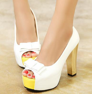 Aliexpress.com : Buy Stylish Bowtie Peep Toe high heel pumps shoes ...