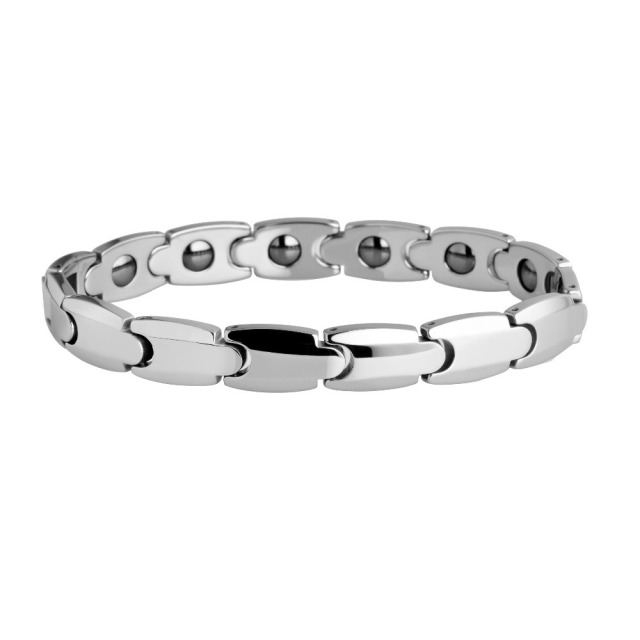 Lady Tungsten Carbide Polish With Germanium Magnetic Link Bracelet
