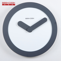 Geekcook 12 inch Wall Clock Zero theme Simple not reflective Wooden Fashion student study Quiet Time Circular Decorative clock