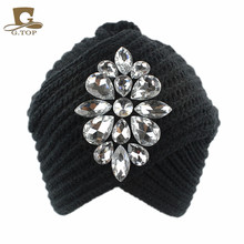 NEW Winter Fashion Bling Beanie Hat Rhinestone Knit turban Skully Cap