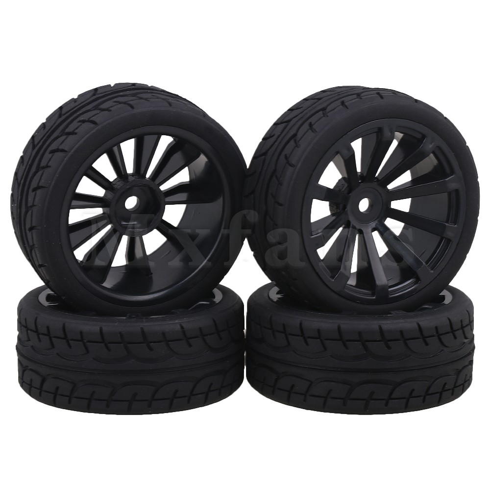 Mxfans Black Plastic Wheel Rims E Shape Rubber Tires for RC 1 10 On Road Racing