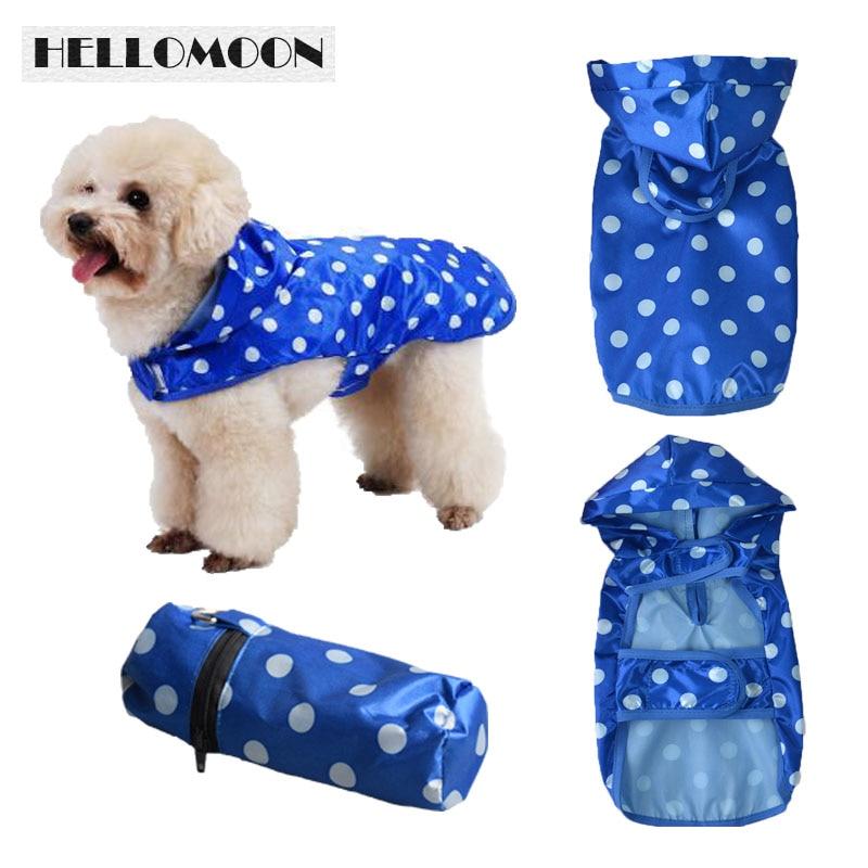 HELLOMOON Pet Raincoat For Dog 3 Colors Dot Raincoat With Storage Bag D-ring Matching Bag Printing Waterproof Dog Raincoat