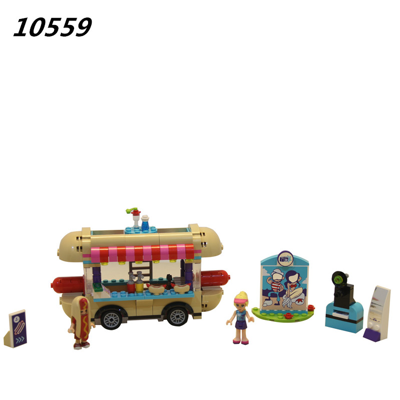 цена на AIBOULLY 10559 Girl Friend Amusement Park Hot Dog Van Building Blocks set Kids Bricks Toys Compatible friends 41129 01007
