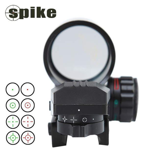 New Spike Tactical 4 Reticle Mode 1X Red Green Dot Sight Hunting Rifle Reflex Dot Sight Brightness Adjustable Aluminum Casing.